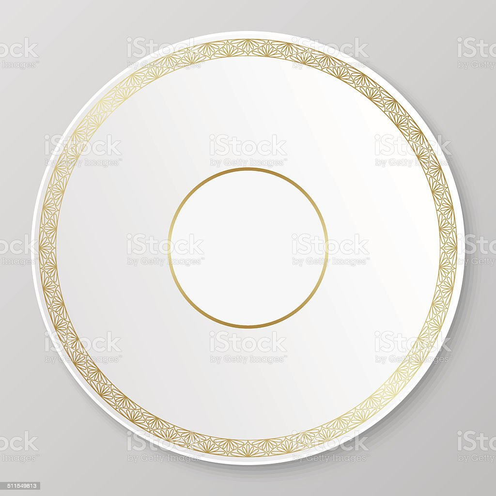 Vector gold decorative plate. vector art illustration