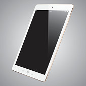Vector gold digital Tablet with blank screen. Eps10 with layers, removeable vector illustration. PDF, High resolution jpeg file included (300dpi).