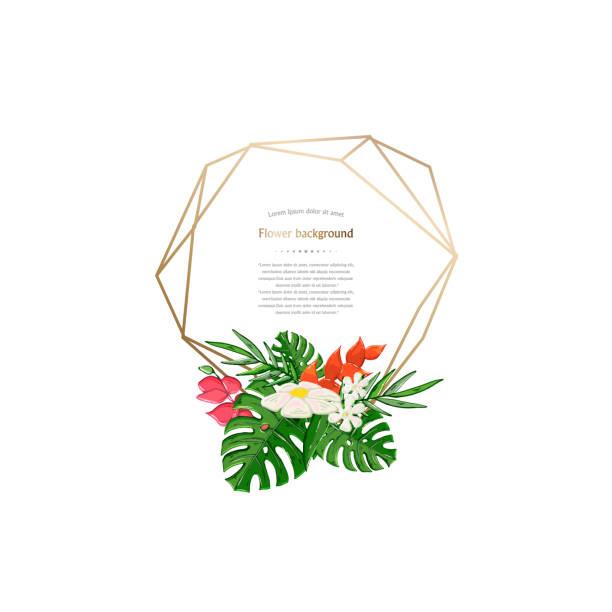 vector gold geometrischer polygonaler rahmen mit tropischer blume isoliert auf weißem hintergrund - hibiskusgarten stock-grafiken, -clipart, -cartoons und -symbole