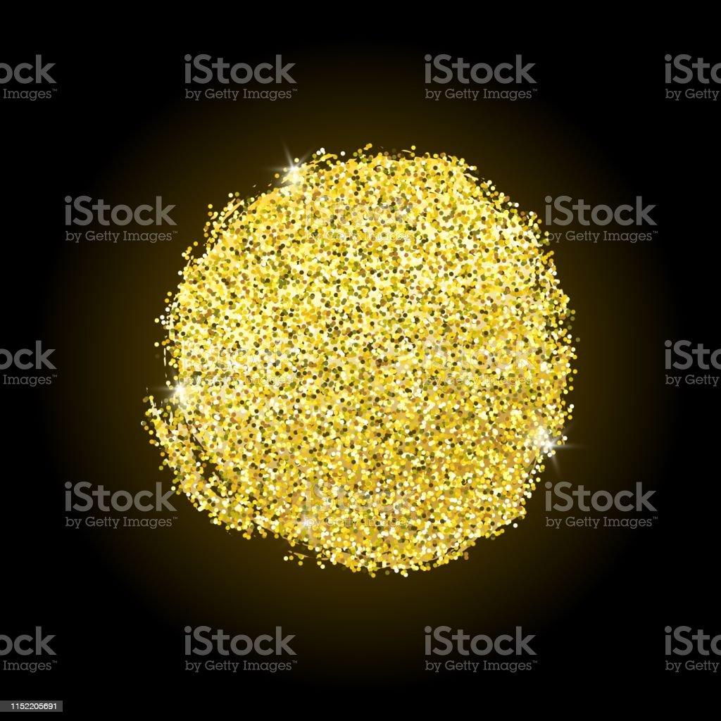 Vector hand drawn brush golden circle. Shiny color gold design...