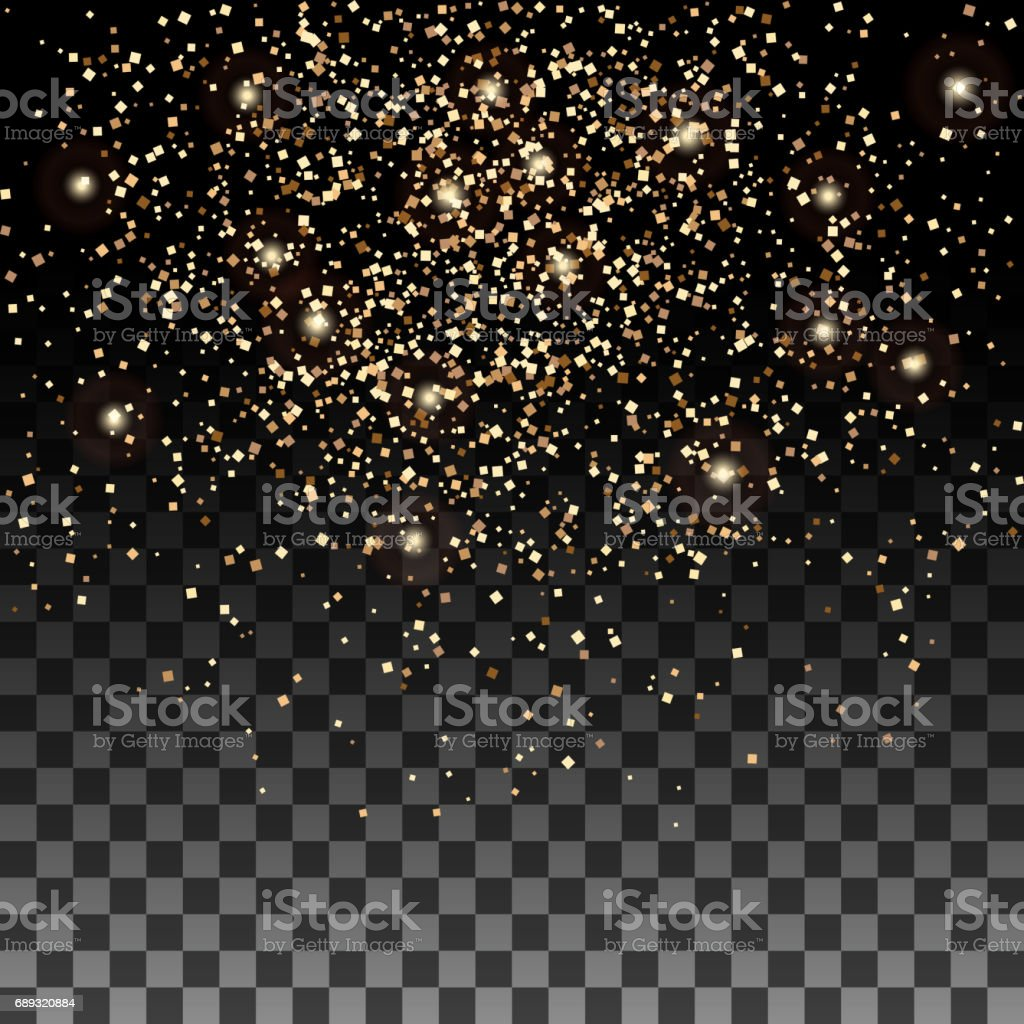 Vector gold glitter particles background effect for luxury greeting rich card. Sparkling texture vector art illustration