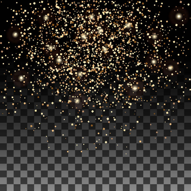 Vector gold glitter particles background effect for luxury greeting rich card. Sparkling texture Vector gold glitter particles background effect for luxury greeting rich card. Sparkling texture. Star dust sparks in explosion on transparent background. anniversary backgrounds stock illustrations