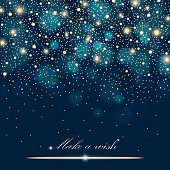 Vector gold glitter particles background effect for luxury greeting rich card. Sparkling texture. Star dust sparks in explosion on blue background. Vector illustration
