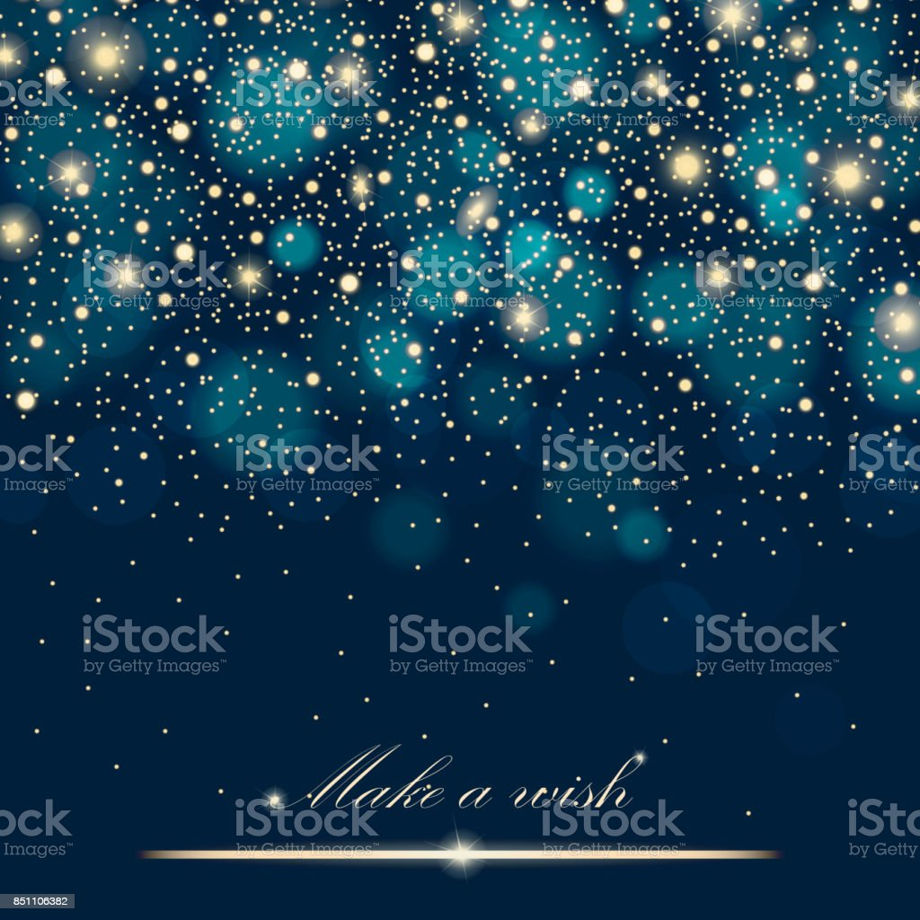 Vector gold glitter particles background effect for luxury greeting rich card. Sparkling texture. Star dust sparks in explosion on blue background. Vector illustration vector art illustration