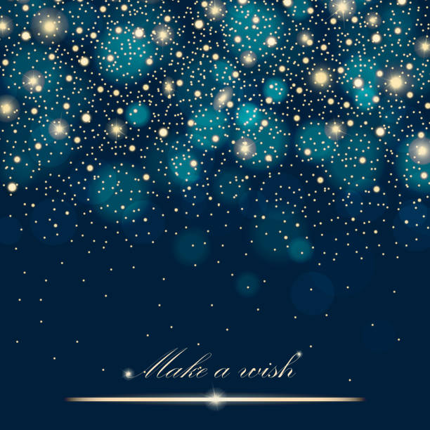 vector gold glitter particles background effect for luxury greeting rich card. sparkling texture. star dust sparks in explosion on blue background. vector illustration - holiday backgrounds stock illustrations, clip art, cartoons, & icons