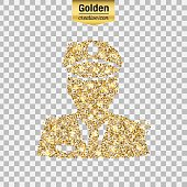 Gold glitter vector icon of police isolated on background. Art creative concept illustration for web, glow light confetti, bright sequins, sparkle tinsel, abstract bling, shimmer dust, foil.