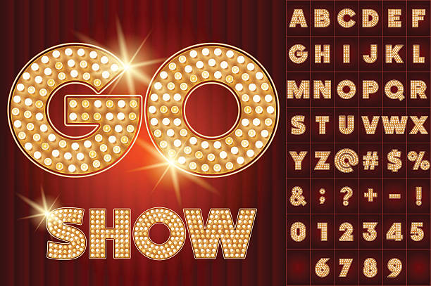 Vector gold lamp alphabet in cabaret show style Scalable vector set of shiny letters, numbers and symbols in quadrata style for digital artwork and typography casino stock illustrations