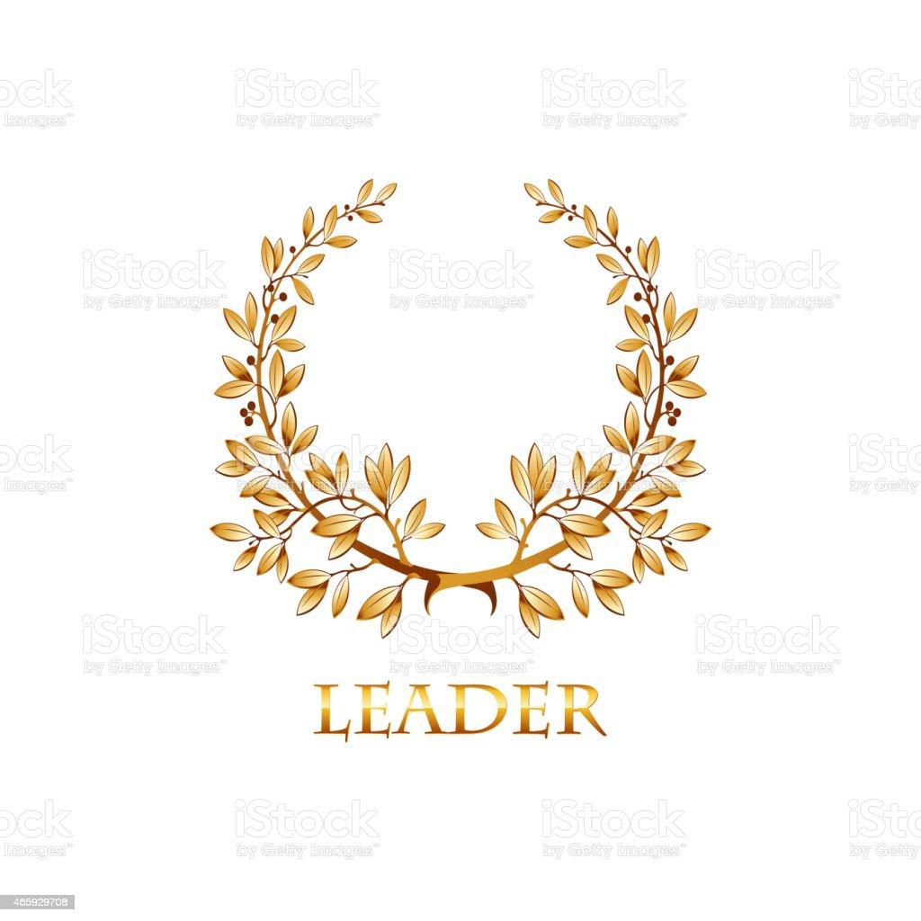 Vector gold laurel vector art illustration
