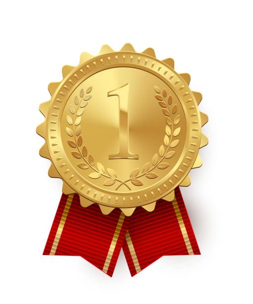 白い背景で隔離赤いリボンとベクトル ゴールド メダル。 - メダル点のイラスト素材/クリップアート素材/マンガ素材/アイコン素材