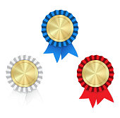 Vector gold medals with red white and blue ribbons and rosette on a white background