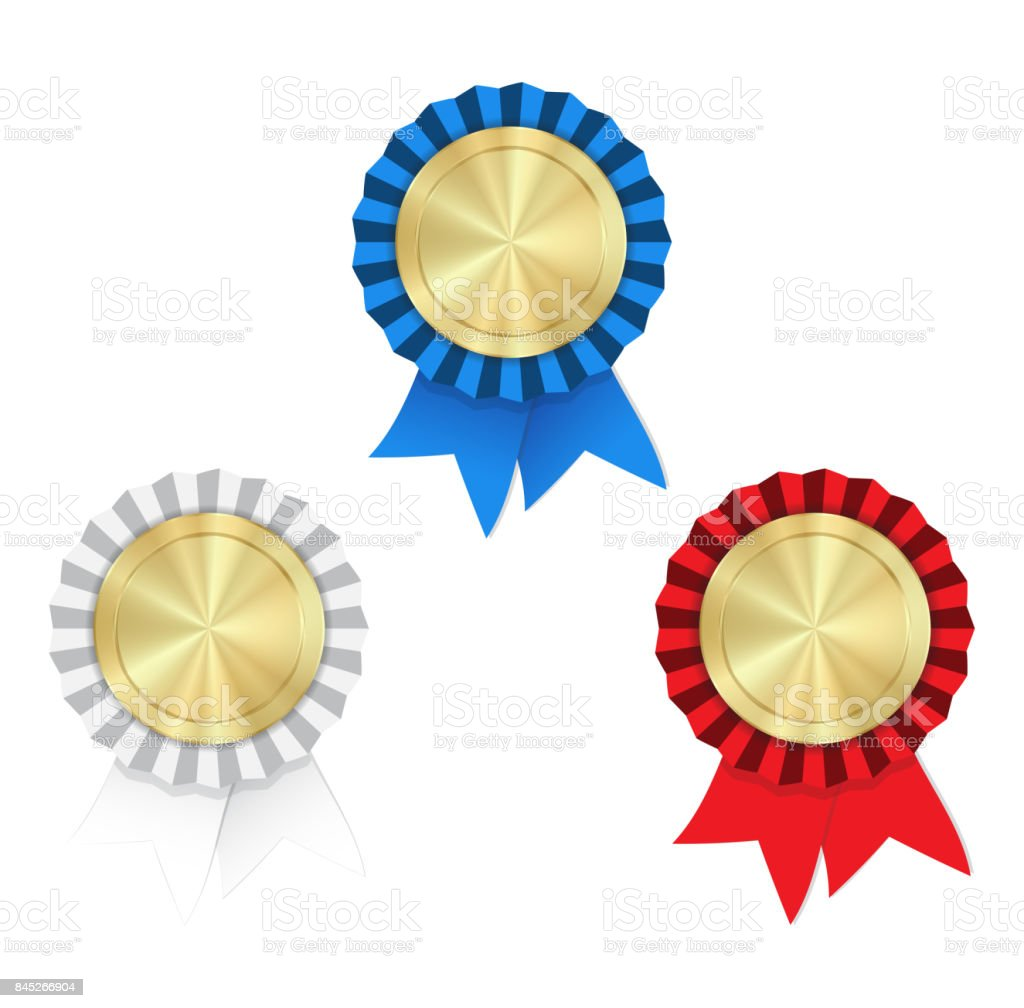 Vector gold medals with red white and blue ribbons and rosette on a white background vector art illustration