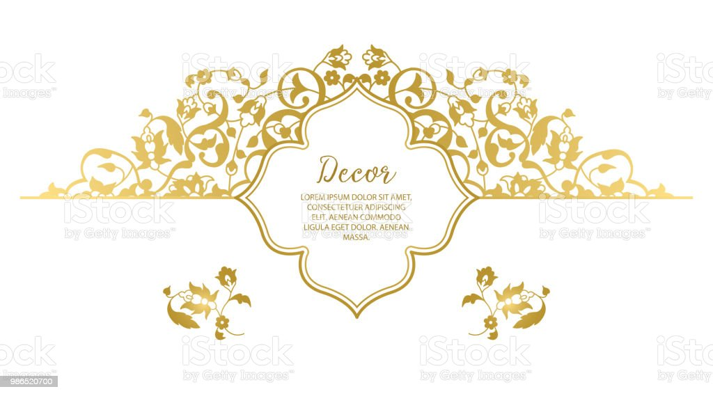 . Vector Gold Ornamental Decorative Frame Stock Illustration   Download Image  Now