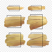 istock Vector gold paint brush banner with black frame isolated on white background. Design banners 1211955324