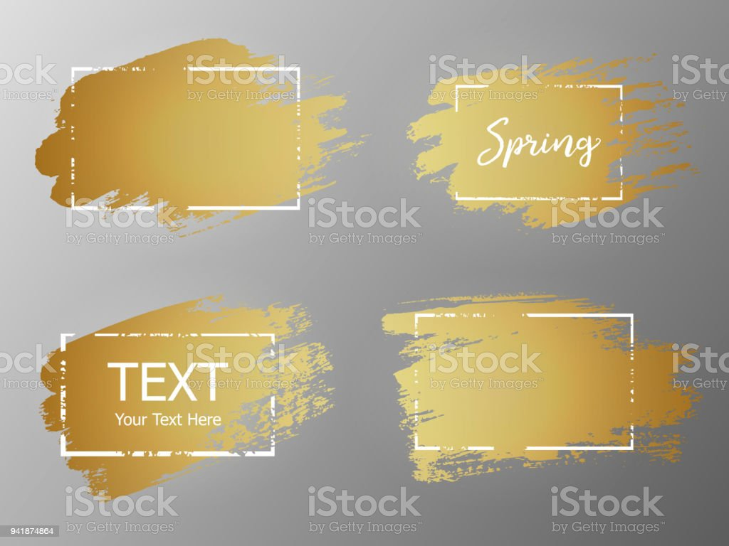e682d39c6554 Vector gold paint stroke with border frame. Dirty artistic design element