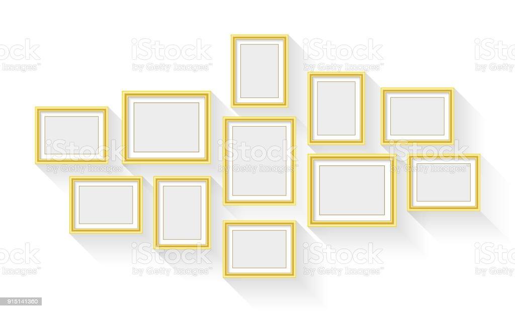 Vektor Gold Bilderrahmen Set Isolierten Auf Weißen Hintergrund Stock ...