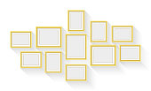 Vector gold picture frame set isolated on white background