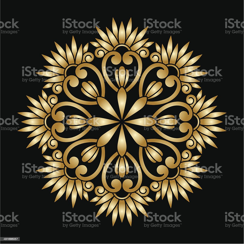 Vector gold round ornament. royalty-free stock vector art