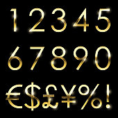 Vector gold shiny font with additional currency, numbers and special symbols and signs.