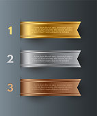 Vector gold, silver, bronze horizontal ribbons with text space isolated on gray background