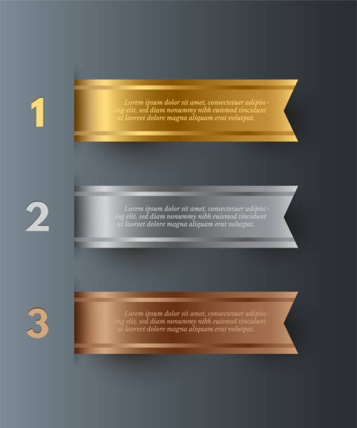 Vector gold, silver, bronze horizontal ribbons with text space isolated on gray background. Vector gold, silver, bronze horizontal ribbons with text space isolated on gray background ribbon sewing item stock illustrations