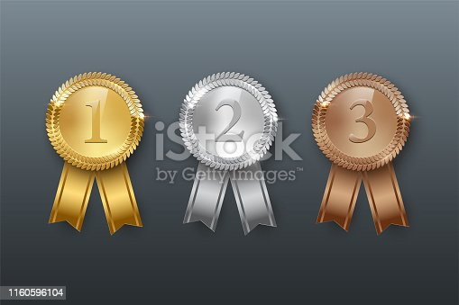 Vector gold, silver, bronze medals and ribbons isolated on gray background