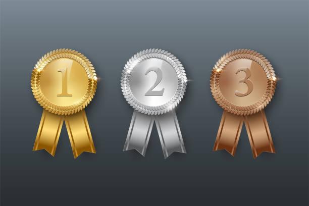 stockillustraties, clipart, cartoons en iconen met vector goud, zilver, bronzen medailles en linten geïsoleerd op grijze achtergrond. - kampioenschap
