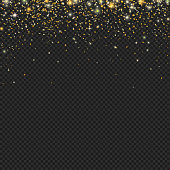 Vector gold snow glitter particles confetti texture