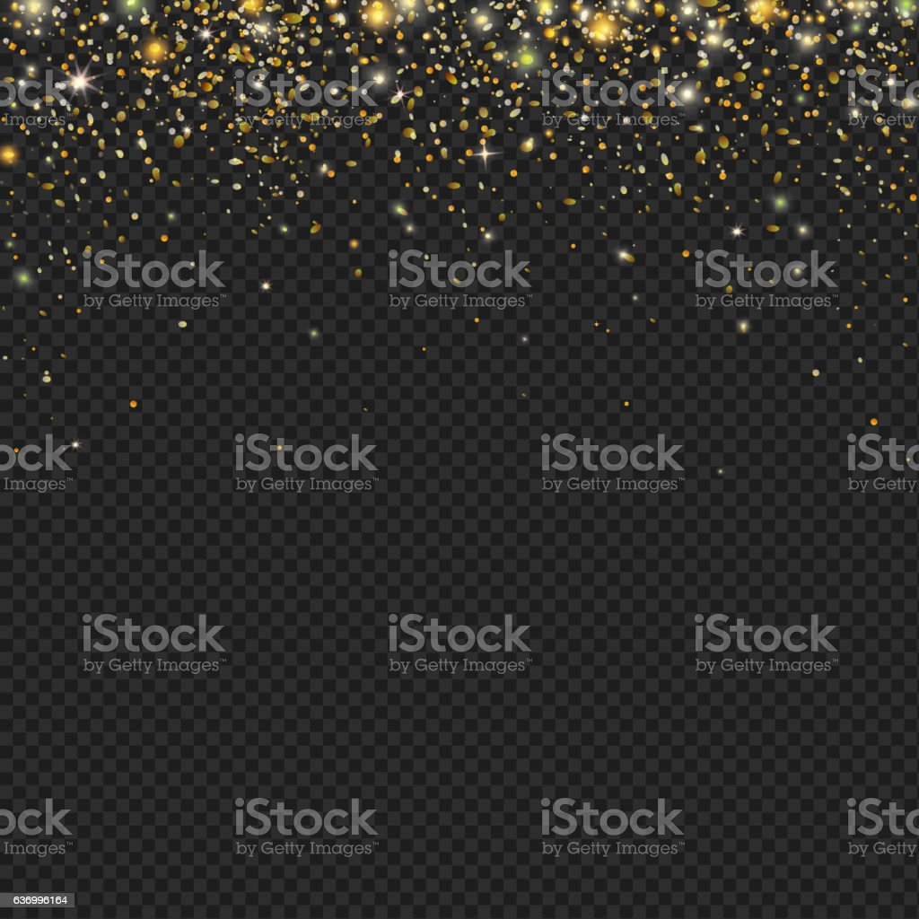 Vector gold snow glitter particles confetti texture vector art illustration