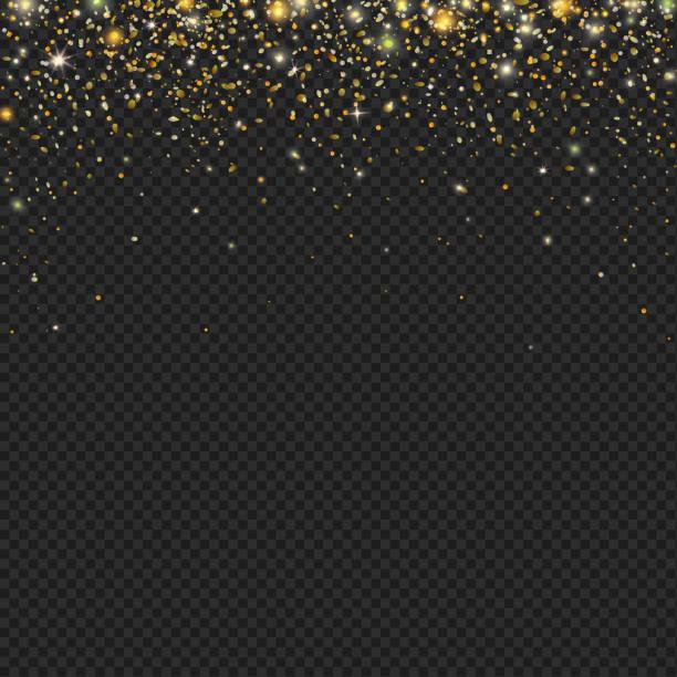 vector gold snow glitter particles confetti texture - fireworks vector art stock illustrations, clip art, cartoons, & icons