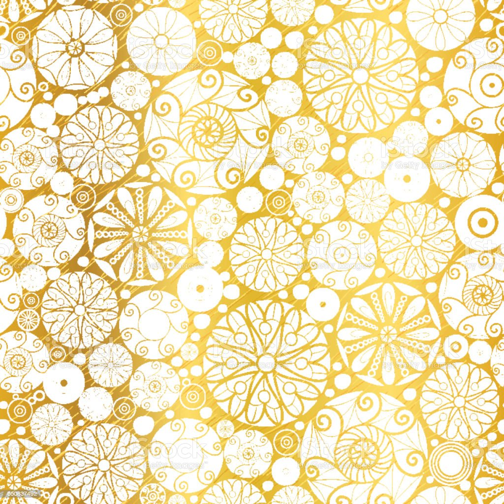 Vector Gold White Abstract Doodle Circles Seamless Pattern ...