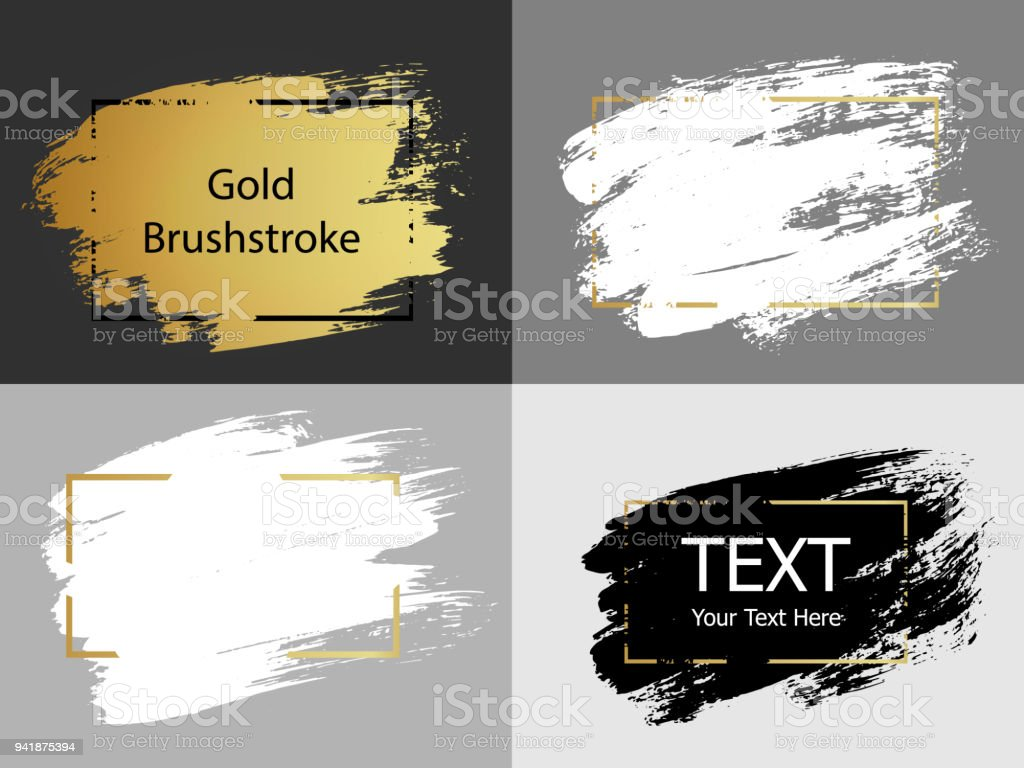 7934eef31b27 Vector Gold White And Black Paint Stroke With Border Frame Dirty ...