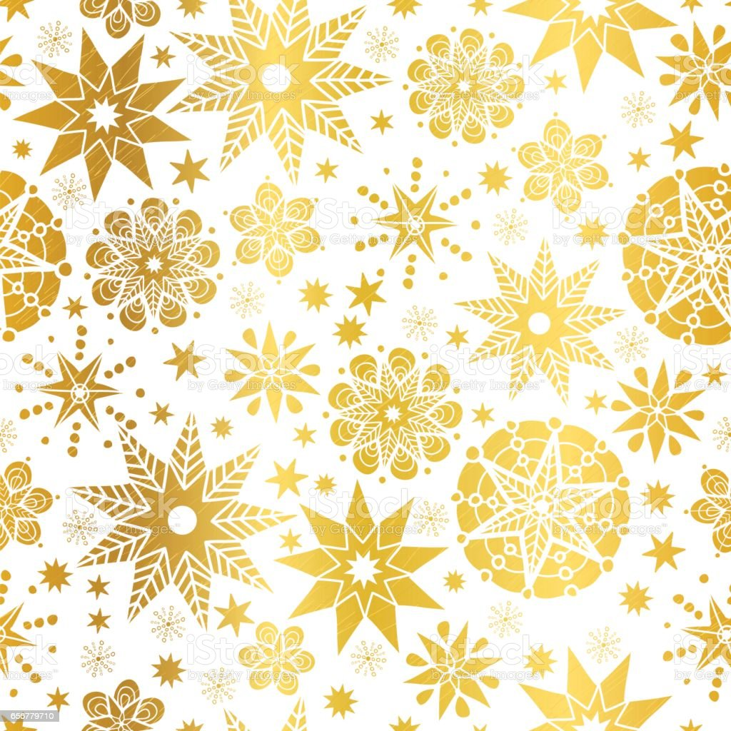 Vector Golden Abstract Doodle Stars Seamless Pattern