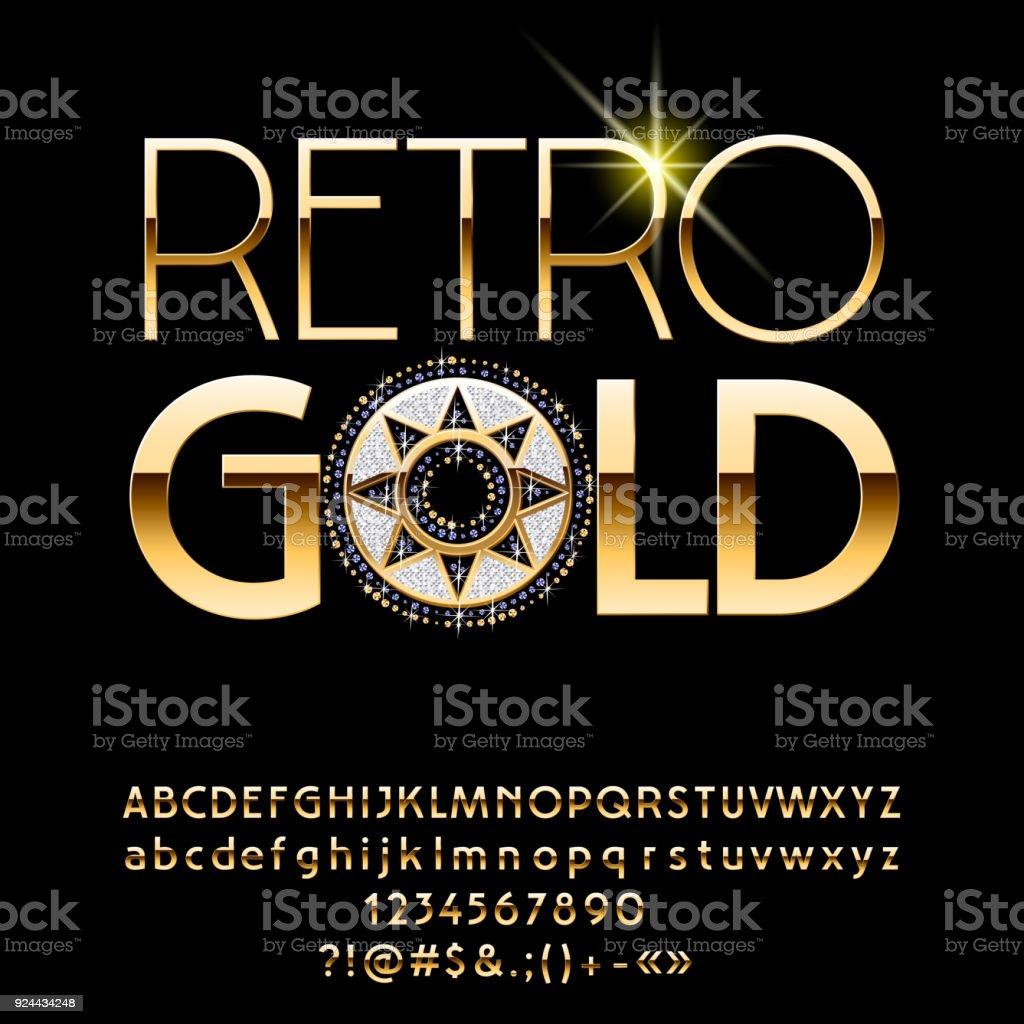Vector Golden Alphabet with exclusive Emblem vector art illustration