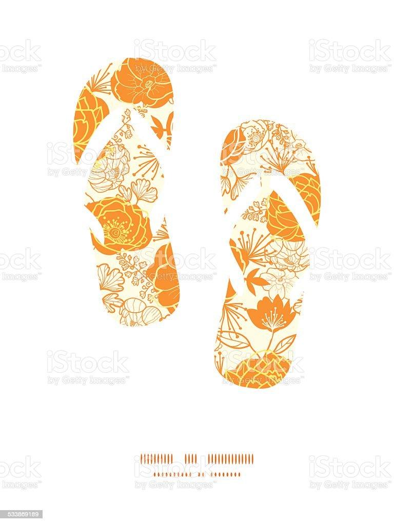 Vector Golden Arte Flores Flip Flops Siluetas De Marco De Patrón ...