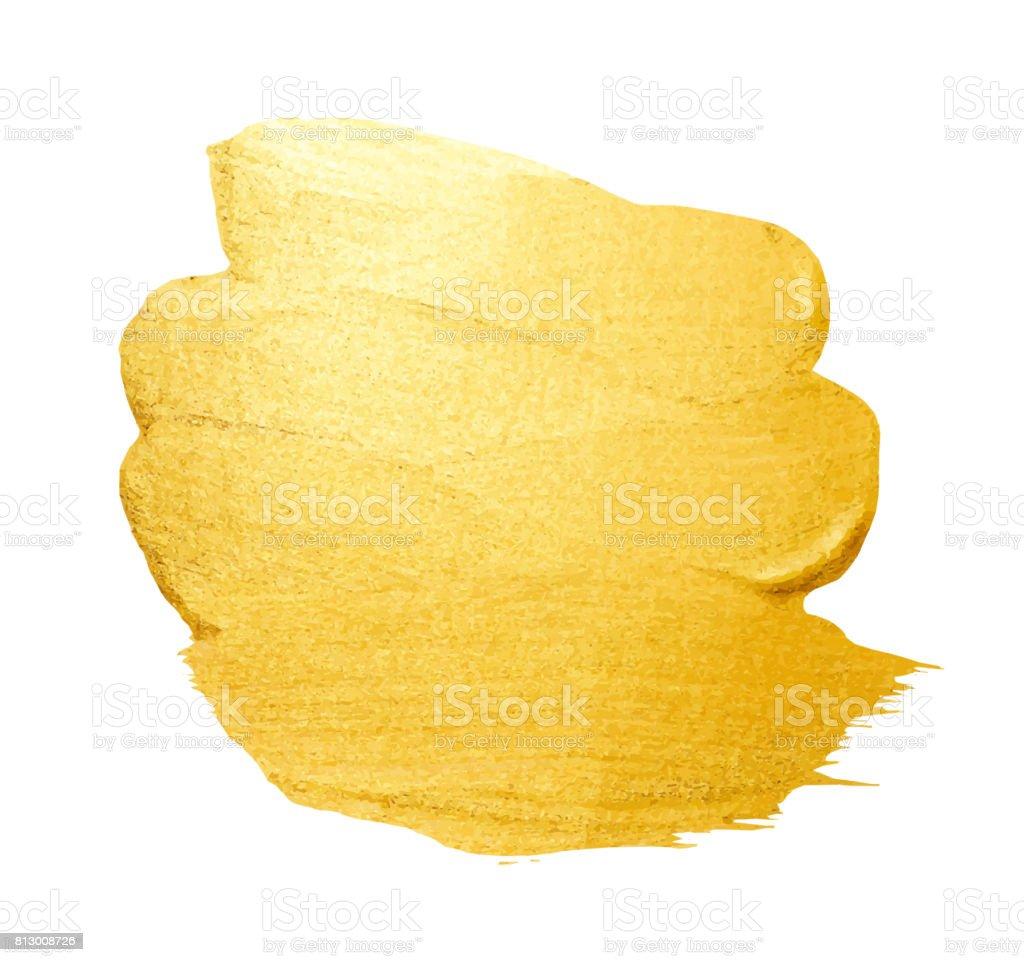 Pincelada vector dourado para você incrível projeto de design. Aquarela textura tinta mancha isolada no branco. Resumo mão pintada com fundo dourado para saudação, presente, cartão de casamento - ilustração de arte em vetor