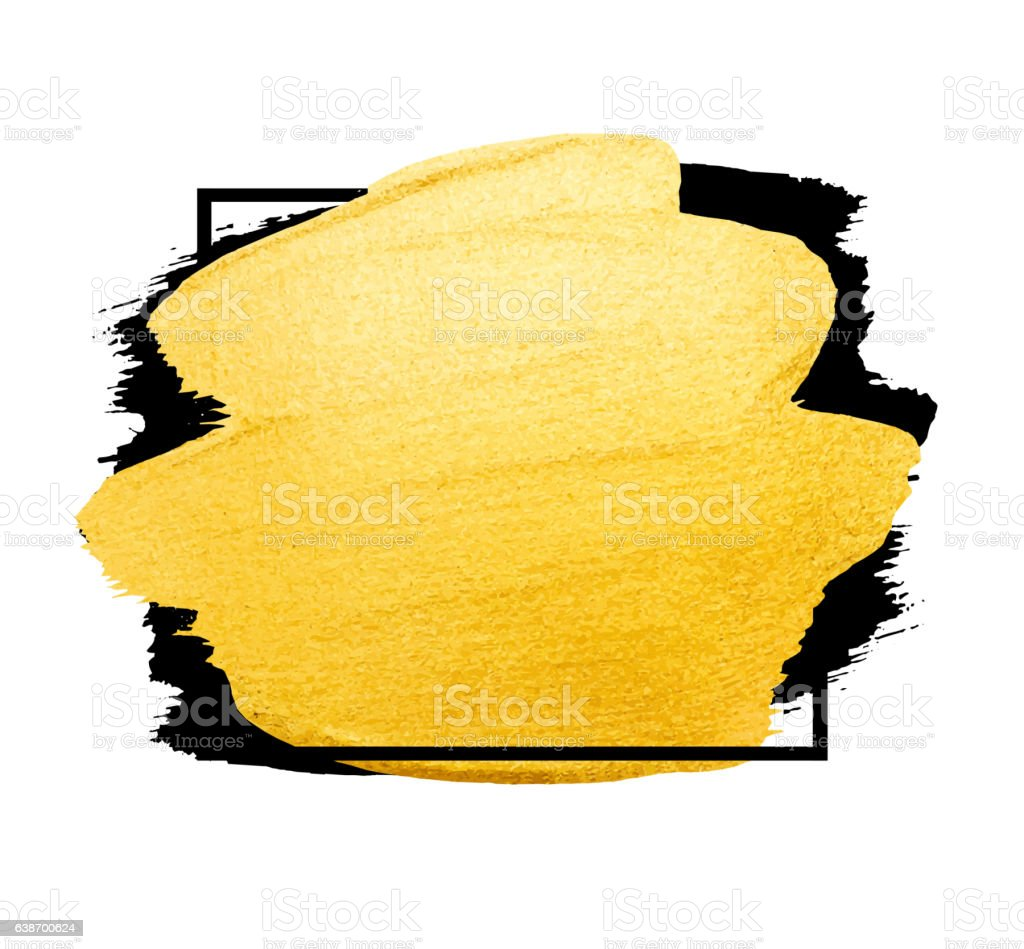 vector golden brush stroke watercolor texture paint stain