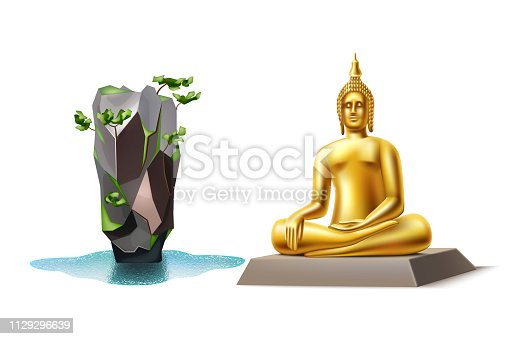 Realistic great buddha of thailand and Bond Island. Famous Thai landmarks for travelling and tourism design. Buddhism religious golden statue. Cultural symbol of asia. Vector illustration