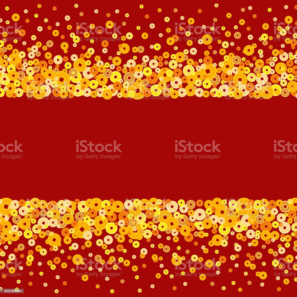 vector golden chinese new year coins text box or background royalty free vector golden chinese