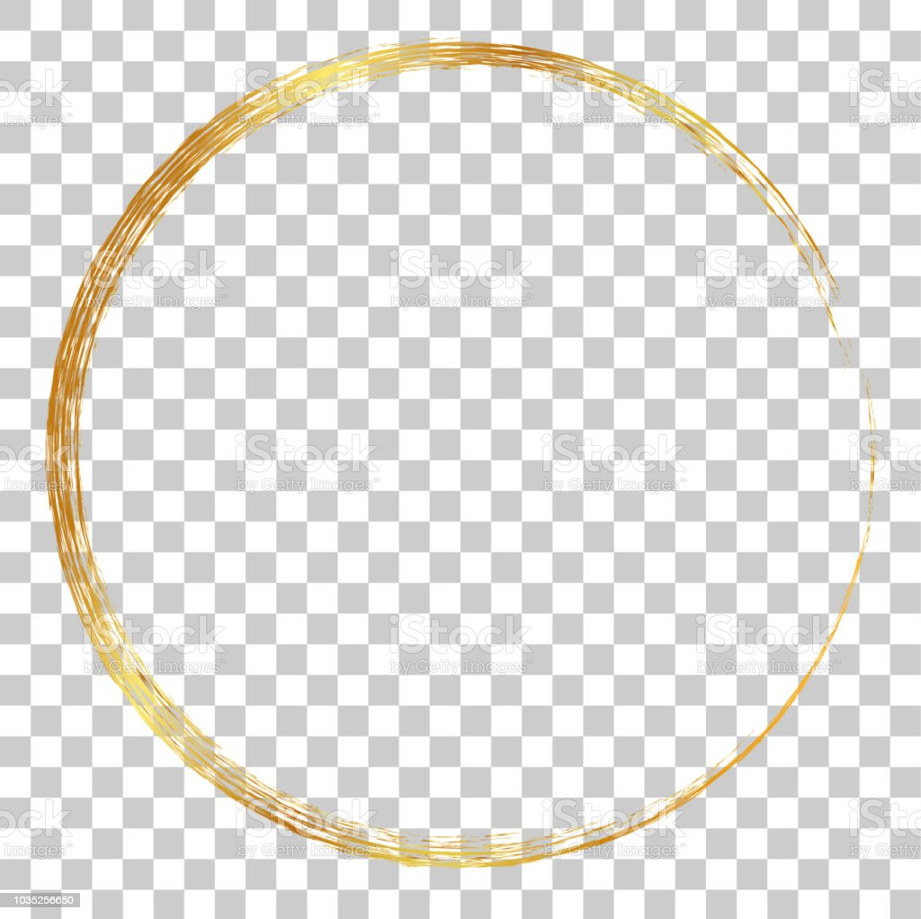 golden circle crayon frame, at transparent effect background