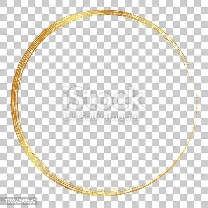 istock vector golden circle crayon frame, at transparent effect background 1035256650
