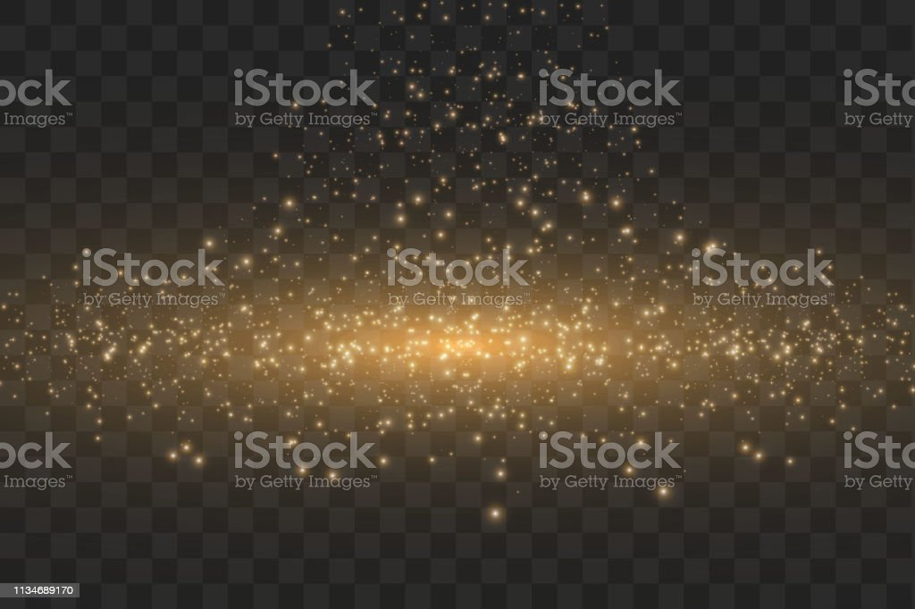 Vector golden cloud glitter wave abstract illustration. White star...