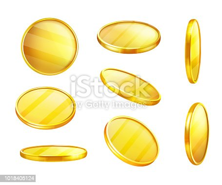 Vector golden coin in different positions, shiny piece of metal, value money. Expensive yellow circle, symbol of wealth, greed. Finance concept, currency with reflections
