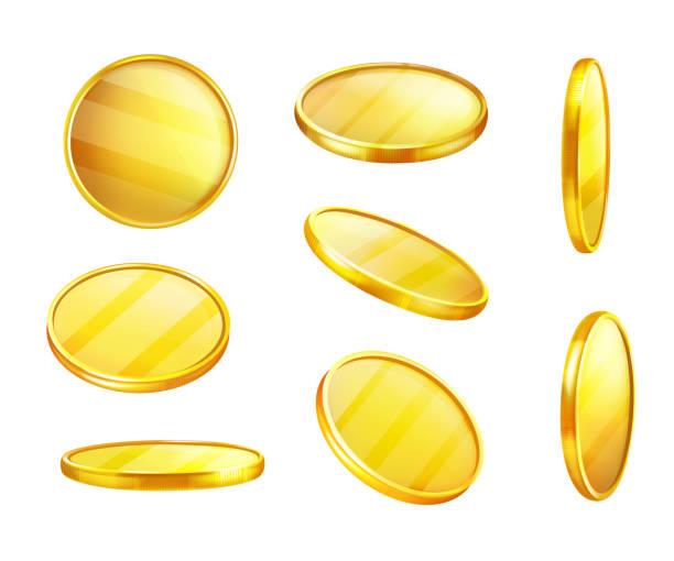 다른 위치에서 돈 벡터 황금 동전 - 토큰 stock illustrations
