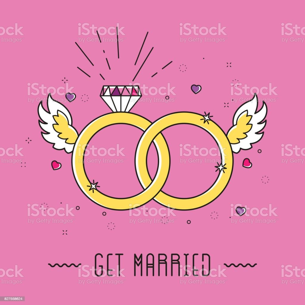 Vector Golden Color Wedding Rings Icon On Baby Pink Background Stock ...