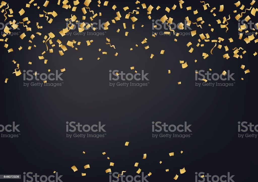 Vector golden confetti. Falling confetti and serpentine background. vector art illustration