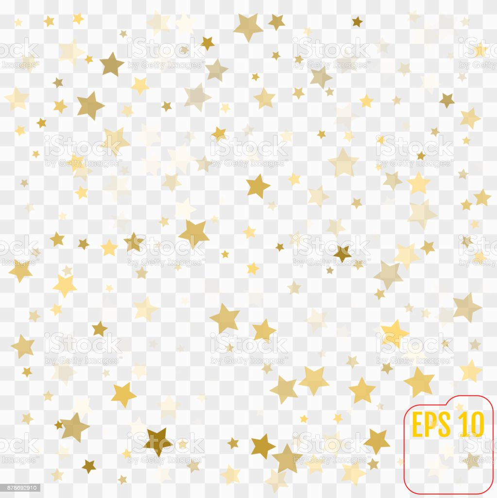 Vector golden confetti on transparent background. Falling confetti from minimalistic geometrical stars. Flat glitter. Abstract festive decoration. vector art illustration
