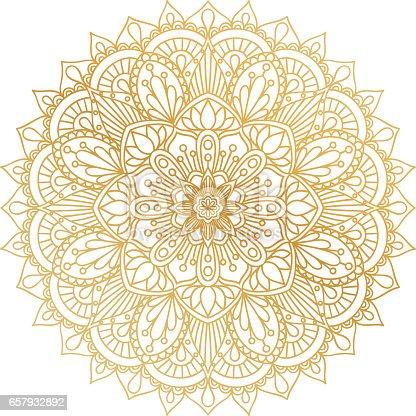 istock Vector golden contour Mandala ornament. Oriental round pattern. 657932892