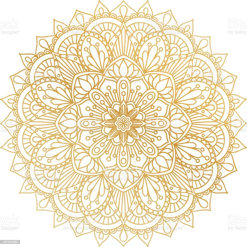 Vector golden contour Mandala ornament. Oriental round pattern. vector art illustration