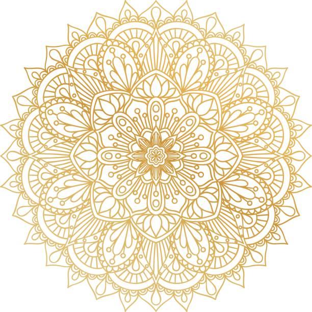 stockillustraties, clipart, cartoons en iconen met vector gouden contour mandala sieraad. oosterse ronde patroon. - indiase cultuur