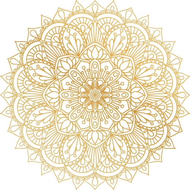 Vector golden contour Mandala ornament. Oriental round pattern. vector art illustration